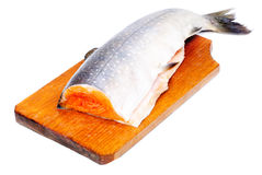 Salmon sliced on  cutting board. Isolated ower white background Royalty Free Stock Images