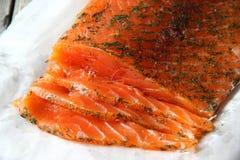 Salmon. Sliced salted salmon on a napkin Shallow DOF royalty free stock photography