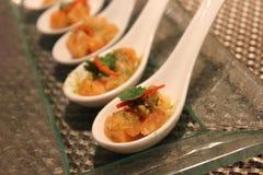 Salmon sliced with seafood sauce Stock Image