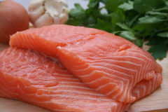 Salmon slices Stock Photography