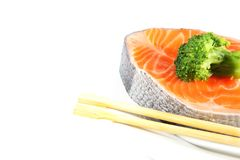 Salmon Slices with Broccoli Royalty Free Stock Image