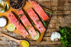 Salmon slices with cooking ingredients on cutting board royalty free stock photo