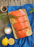 Salmon Slices with Dill and Lemon. Fresh Salmon Slices with Dill and Lemon Royalty Free Stock Image