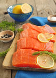 Salmon Slices with Dill and Lemon. Fresh Salmon Slices with Dill and Lemon Stock Images