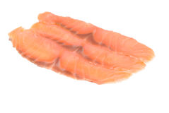 Salmon  slices of fresh  isolated ower white background Stock Images