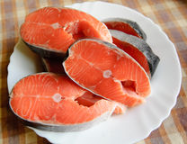 Salmon. Slices of fresh salmon, ready to cook Stock Photography