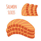 Salmon slices. Pieces of fish, fillet, fish steak. Flat style. Salmon slices. Pieces of fish, fillet, fish steak. Cartoon flat style Royalty Free Stock Images