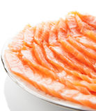 Salmon slices on plate Stock Image