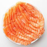 Salmon slices on plate Stock Photography