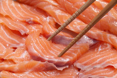 Salmon slices for sashimi Royalty Free Stock Image