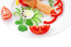 Salmon slices and vegetables Royalty Free Stock Photo