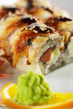 Salmon and Smoked Eel Maki Sushi Royalty Free Stock Images