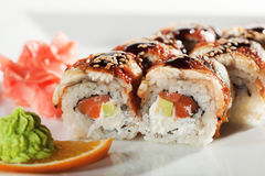 Salmon and Smoked Eel Maki Sushi Royalty Free Stock Photography
