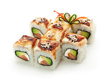 Salmon and Smoked Eel Maki Sushi Royalty Free Stock Photo