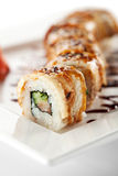 Salmon and Smoked Eel Maki Sushi Stock Image