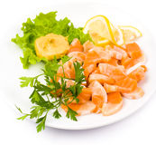 Salmon snack. Cut salmon served with lemon and mustard Stock Photos