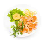 Salmon snack, clipping path. Cut salmon served with lemon and mustard Stock Photos