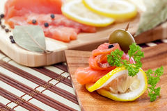 Salmon snack and ingredients Royalty Free Stock Photo