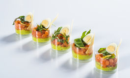 Salmon snack wiht and cheese in glass Royalty Free Stock Image
