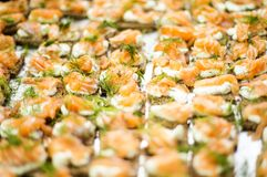 Salmon snacks Royalty Free Stock Image