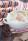 Salmon soup. Finnish soup with milk, salmon and potatoes, selective focus Royalty Free Stock Images