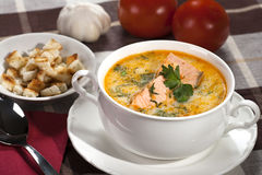 Salmon soup. Creamy salmon soup with croutons Stock Image