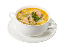 Salmon soup. Isolated on white background royalty free stock image