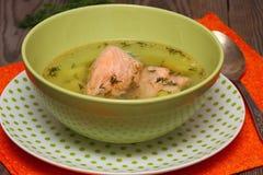 Salmon soup. Closeup of a bowl of fresh salmon royalty free stock photo