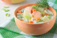 Salmon soup with cream Royalty Free Stock Photos