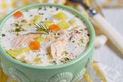 Salmon soup Royalty Free Stock Photography