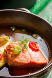 Salmon soup spiced with dill and chives Royalty Free Stock Image