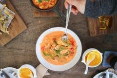Salmon soup or stir fried salmon with tomato or salmon pasta. Dish royalty free stock photos