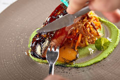 Salmon sous vide with julienne of stewed vegetables Stock Photos