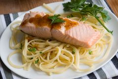 Salmon with spaghetti Royalty Free Stock Images