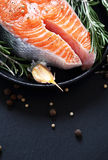 Salmon and spice in pan on slate Stock Photo
