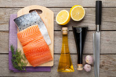 Salmon, spices and condiments Stock Image