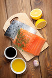 Salmon, spices and condiments Royalty Free Stock Photography