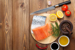 Salmon, spices and condiments Royalty Free Stock Photo