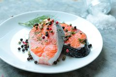 Salmon with spices Royalty Free Stock Image