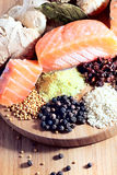 Salmon with spices and ginger Royalty Free Stock Images