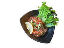 Salmon spicy salad, Thai style Japanese food isolated on white b Stock Images