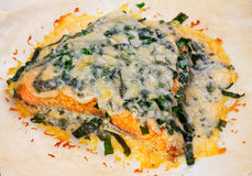 Salmon with spinach and cheese. Baked fish on parchment Royalty Free Stock Photography