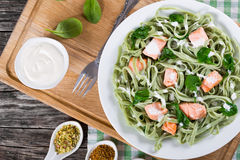 Salmon and Spinach Fettuccine pasta on white dish stock photography