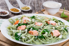Salmon and Spinach Fettuccine pasta on white dish Stock Photo