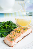 Salmon with Spinach Royalty Free Stock Images