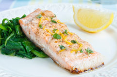 Salmon with Spinach Royalty Free Stock Photo