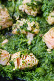 Salmon with spinach Stock Images