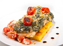 Salmon with spinach stock image