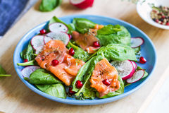 Salmon with spinach and pomegranate  salad Stock Photo