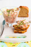 Salmon spread. Salmon and soft cheese spread on bread stock image